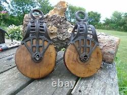 Antique Vintage Cast Iron And Wood Barn Pulleys Farm Tool Rustic Primitive
