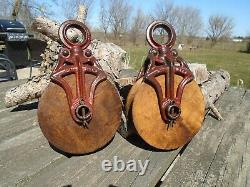 Antique Vintage Cast Iron And Wood ORNATE Barn PULLEYS Rustic Decor Primitive