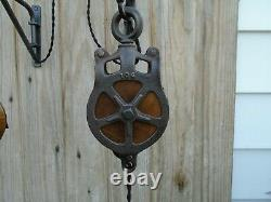 Antique Vintage Cast Iron And Wood Ornate Barn Pulley Lighting Farm House Sconce