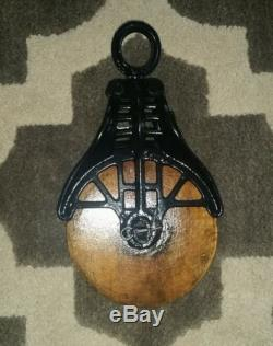 Antique / Vintage Cast Iron Barn Pulley Old Farm Tool Rustic Great Look