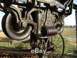 Antique / Vintage Cast Iron F. E. Myers Hay Trolley Pat 1884 Old Farm Tool Pulley