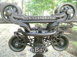 Antique Vintage Cast Iron FE Myers Hay Trolley Old Farm Tool Rustic Primitive