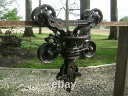 Antique Vintage Cast Iron FE Myers Hay Trolley Pat 1884 Farm Barn Tool Unloader