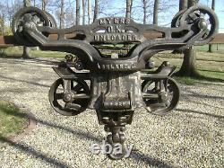 Antique Vintage Cast Iron FE Myers OK Hay Trolley Farm Barn Tool Unloader
