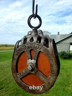 Antique Vintage Cast Iron FE Myers OK Hay Trolley Line Pulley Barn Farm Tool