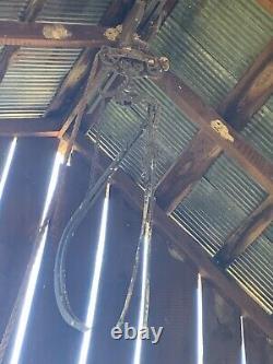 Antique Vintage Cast Iron Hay Trolley Drop Pulley Farm Barn Tool 40 Feet Rail