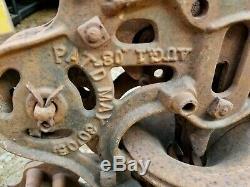Antique Vintage Cast Iron Hay Trolley Unloader Pulley Barn Primitive Pat. 1905