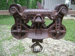 Antique Vintage Cast Iron Louden Hay Trolley Pat. 1894 Farm Barn Pulley Tool