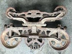 Antique Vintage Cast Iron Myers Hay Trolley Farm Barn Tool