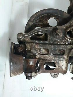Antique Vintage Cast Iron Ney Hay Trolley Drop Pulley Farm Barn Tool