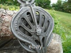 Antique Vintage Cast Iron STOWELL Barn Pulley Farm Tool Rustic Primitive
