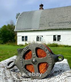Antique Vintage Cast Iron Superior Drill Company Barn Pulley Springfield Ohio