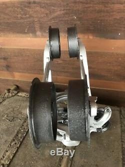Antique Vintage Climax Wood Beam Hay Trolley Pulley Barn Tool Light