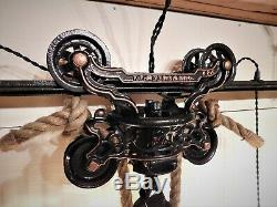 Antique Vintage F. E. Myers Hay Unloader/trolley Rustic Light Fixture & Track