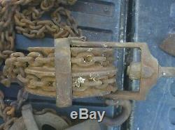 Antique/Vintage Reading Half Ton 1000 Pounds Heavy Chain Hoist Pulley