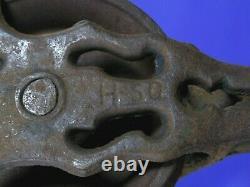 Antique Vtg Cast Iron Myers Hay Trolley Drop Pulley Farm Barn Rivet Head H-50