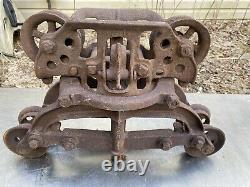 Antique Vtg Cast Iron Rod Car Hay Trolley Farm Barn Primitive Tool Industrial