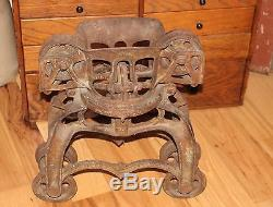 Antique W & B Steel Wood Track Hay Trolley Pulley Carrier- Steam Punk Industrial