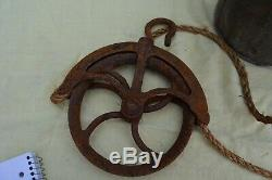 Antique Well Pulley #10 Galanized Water Bucket 25 Ft Rope