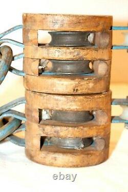 Antique Wooden Pulley Hooks Roller Bushed Vintage Boating Farming Set of 2