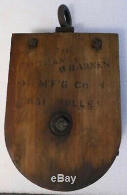 Antique Wooden Whitman Barnes #51 Barn Pulley 1800's Block And Tackle Massive