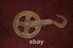 Antique Yale & Towne Nautical Barn Pulley Wheel Hook LARGE Stanford Conn