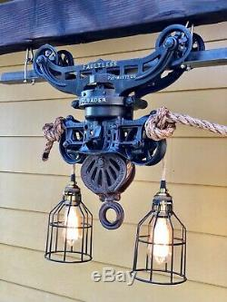 Antique barn hay trolley rustic light fixture with rope and Edison bulbs