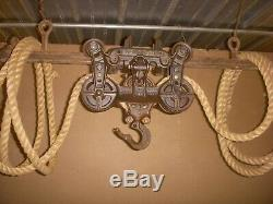 Antique barn hay trolley with track & rope / antique loudens hay trolley