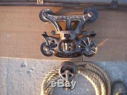 Antique barn hay trolley with track & rope / antique porter hay unloader