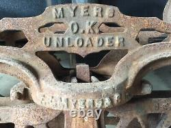 Antique cast iron F. E. Myers hay trolly unloader