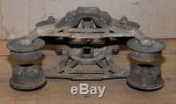 Antique cast iron Myers hay trolley steam punk industrial barn light repurpose