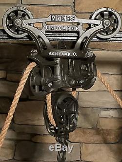Antique hay trolley cast iron farm tool barn pulley hay carrier vintage unloader
