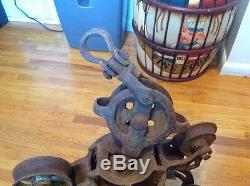 Antique hay trolley cast iron farm tool barn pulley vintage carrier unloader