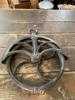 Antique unique rare cast iron pulley