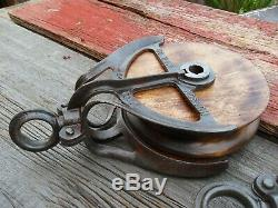 Antique/vintage Cast Iron Wood Barn Pulleys Primitive Rustic Farmhouse Decor