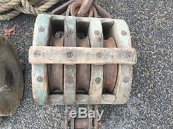Awesome HUGE Vintage Nautical Block And Tackle Pulleys With Original 1 Rope