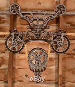 BEAUTIFUL Antique Vtg FE Myers Cloverleaf Barn Farm Hay Trolley Carrier Pulley