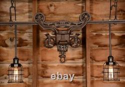 BEAUTIFUL Custom Vintage Barn Hay Trolley Pulley Edison Light Farmhouse Decor 3