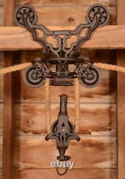 BEAUTIFUL Vintage 1800's Myers ORNATE Wood Beam Hay Barn Trolley Carrier Pulley
