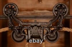 BEAUTIFUL Vintage 1884 Myers OK UNLOADER Hay Barn Trolley Carrier Pulley Light