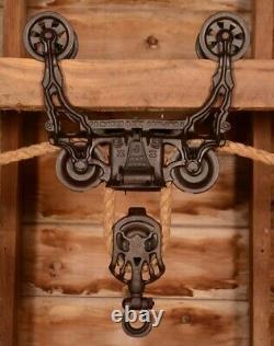 BEAUTIFUL Vintage 1884 Myers OK Unloader Wood Beam Hay Barn Trolley Carrier