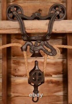 BEAUTIFUL Vintage 1887 NEY Wood Beam Hay Barn Trolley Carrier Pulley Farmhouse