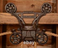 BEAUTIFUL Vintage Myers OK UNLOADER Wood Beam Hay Barn Trolley Carrier Pulley