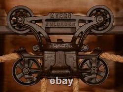 BEAUTIFUL Vintage Myers OK Unloader Hay Barn Trolley Carrier Farm Pulley Tool