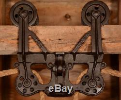 BEAUTIFUL Vtg 1889 LEADER Wood Beam Hay Barn Trolley Carrier Farm Pulley Tool
