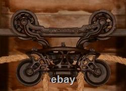 BEAUTIFULLY ORNATE Vintage 1800s Myers Hay Barn Trolley Carrier Farmhouse Pulley
