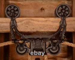 BEAUTIFULLY ORNATE Vintage 1884 Myers Hay Barn Trolley Carrier Farmhouse Pulley