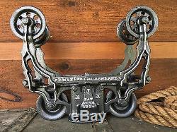 Beautiful Myers WOOD BEAM Hay Trolley Pulley Pat'd 1884 Cast Iron Farm Barn Tool