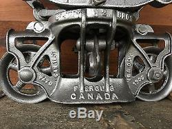 Beautiful Restored Antique Beatty Bros Maple leaf WOOD BEAM Hay Trolley Pulley