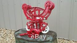Beautiful Restored Antique Beatty Bros Maple leaf wood beam Hay Trolley Pulley